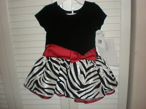 BONNIE JEAN BABY GIRL/'S BLACK RED /& WHITE DRESS SIZE 12 MONTHS NEW WITH TAG