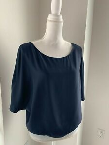 Vince Navy Blue Draped Silk Top Blouse SZ S