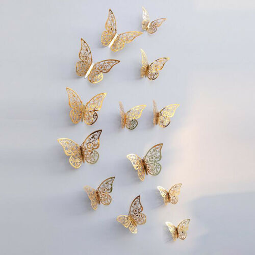 12Pcs 3D Butterfly Art Wall Stickers Decal Living Room Home Decor C Gold