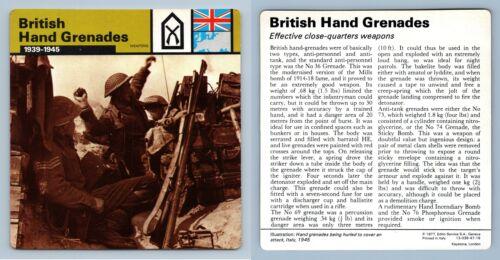 1939-45 British Hand Grenades WW2 Edito-Service SA 1977 Card Weapons