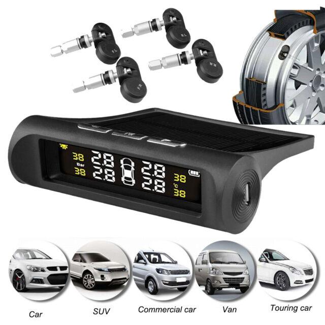 Solar Wireless LCD TPMS Car Tire Pressure Monitoring System w//4 Internal Sensors