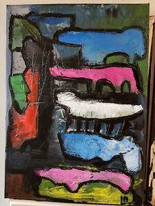 Original-Oil-Painting-Abstract-Expressionist-Modern-Art-Canvas-Bridges