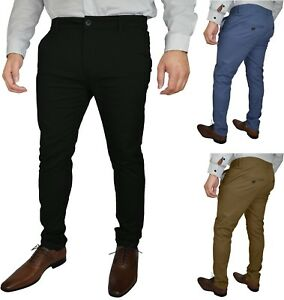 Mens-Slim-Fit-Stretch-Chino-Trousers-Stretch-Skinny-Slim-Fit-Chino-Great-Quality