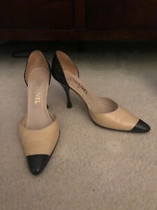Chanel Beige And Black Leather Cap Toe
