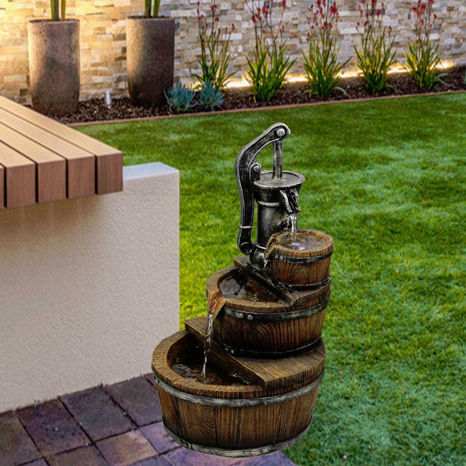 Fuente De Agua Bomba de Poliresina de interior al aire libre cuentan con Luces LED Jardín Estatua