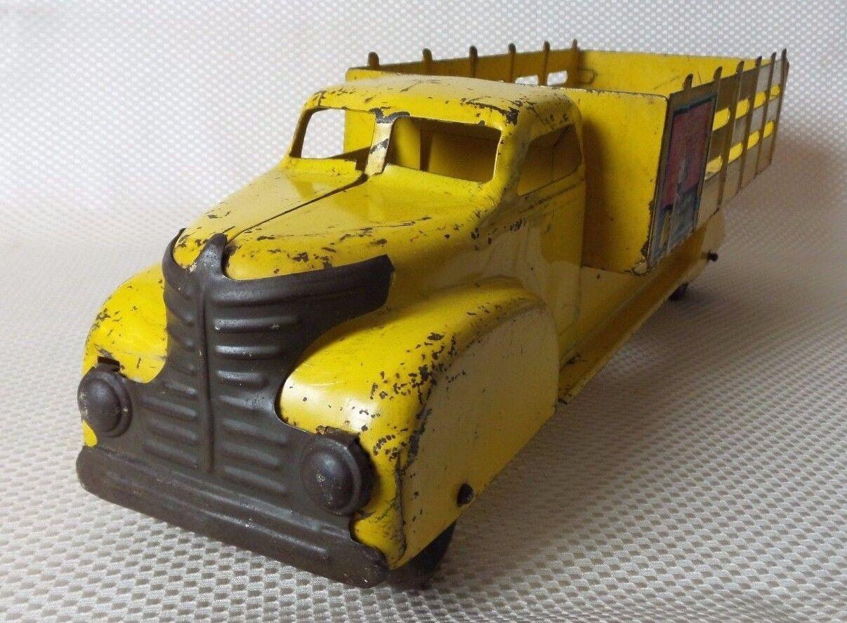 Vintage década de 1940 Marx Coca Cola Amarillo Juguete de entrega de acero prensado camión Sprite Boy