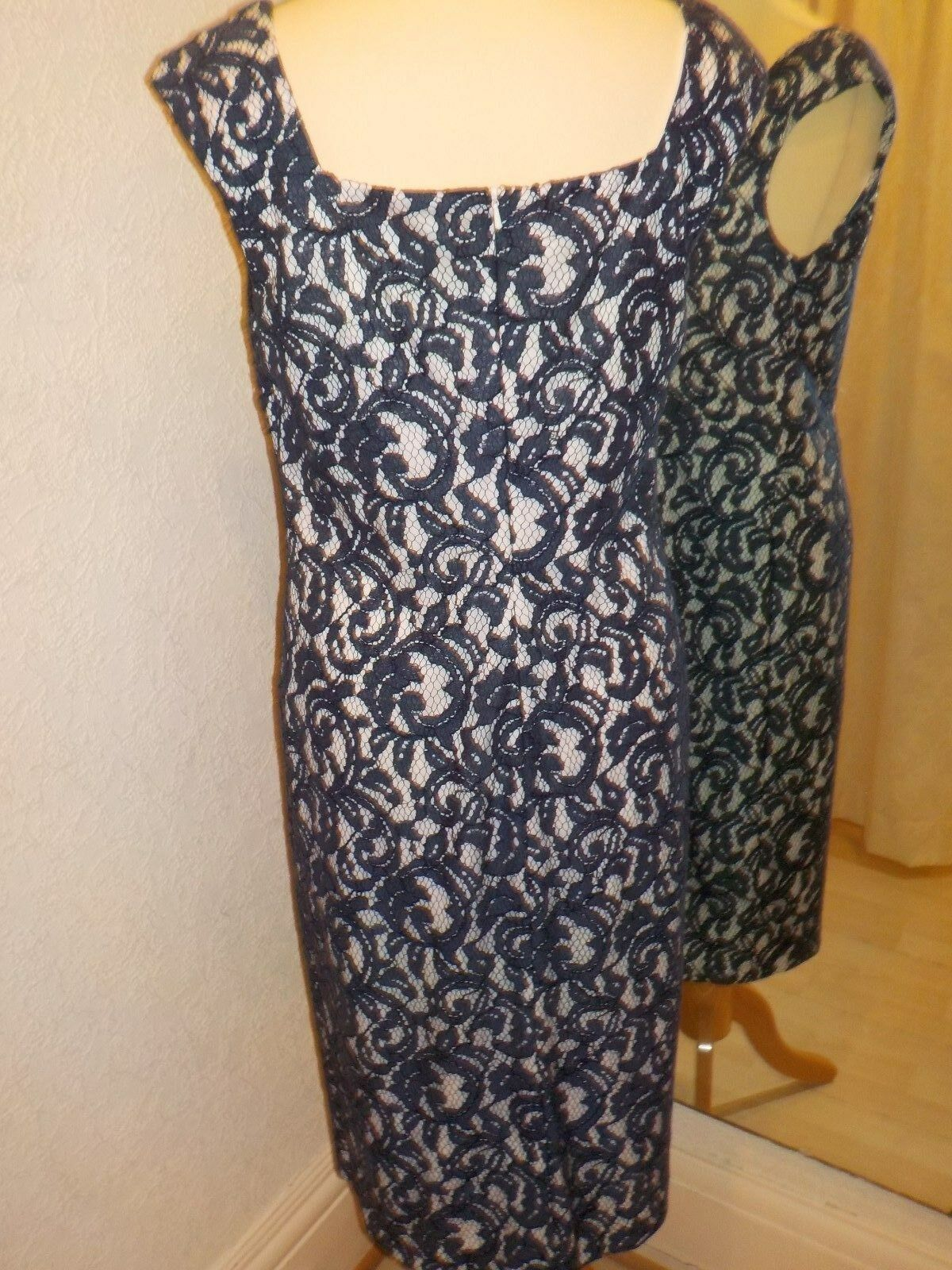 Gina Bacconi Navy Cream  lace  dress SG70091 Size 14