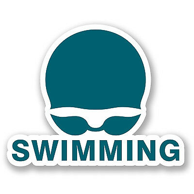 2 x Swimming Vinyl Sticker Laptop Travel Luggage Car #5504