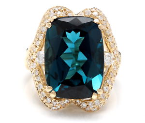 19.10 Quilates Natural Londres Topacio Azul y Diamante 14K Anillo Oro Amarillo