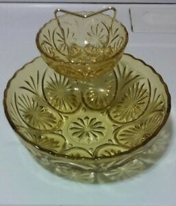 Amber Pressed Glass Serving Bowl 1970s Anchor Hocking Star and Cameo Retro Dining