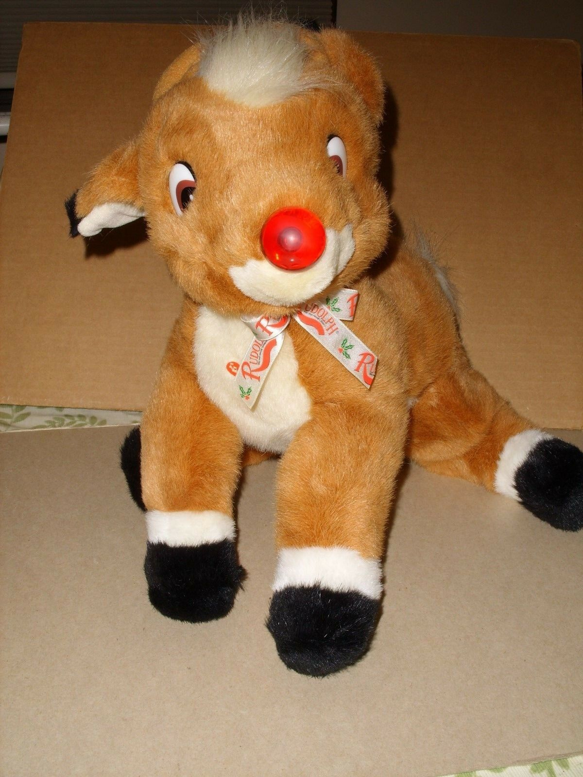 Rudolph The Red Nosed Reindeer Plush Christmas 16  Musical Light Up Nose 1999