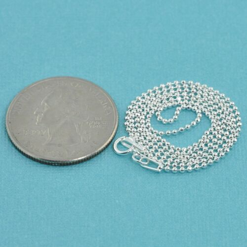 """1.5MM Sterling Silver Ball Chain Necklace With Springring Clasp 18/"""" Length"""