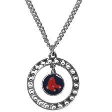 "MLB Boston Red Sox Rhinestone Hoop Necklace Circle 18"" Jewelry Pendant Charm"