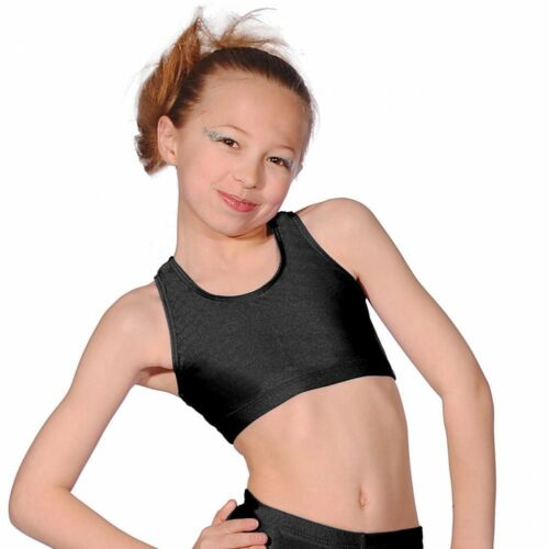 Roch Valley Crop Top Nyon//Lycra Shiny Fabric Black Dance Gymnastics Freestyle