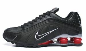 Men's Nike Shox R4 Athletic Shoes BLACK & RED SILVER  Sizes 7-12