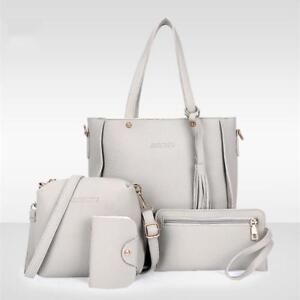 4pcs-Women-PU-Leather-Handbag-Shoulder-Bag-Tote-Purse-Girl-Messenger-Satchel-Bag