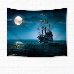 Bedroom Decor Living Room Wall Hanging Tapestry Pirate Ship Under Moonlight Ebay