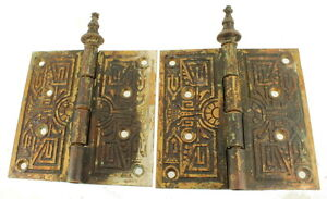 Antique-19th-Century-Eastlake-Ornamental-Cast-Brass-Steeple-Tipped-Door-Hinges