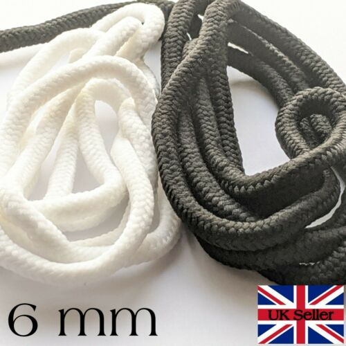 """Braided Polyester Cord Sewing Trimmings Boot Lace Stretchy 6mm 78/"""" 2 Meters"""
