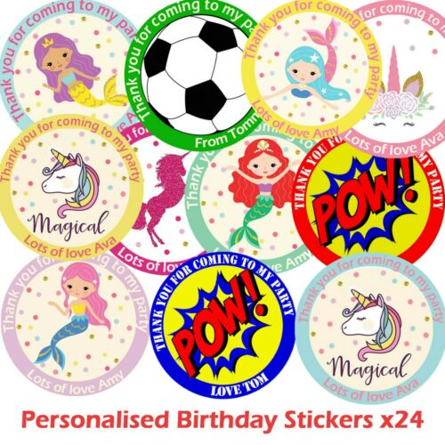 Personalised Birthday Stickers For Party Thank You Sweet Cone Bags x 24