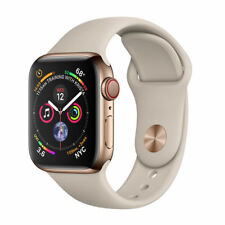 Apple Watch Series 4 40 mm Gold Stainless Steel Case with Stone Sport Band (GPS + Cellular) - (MTUR2LL/A)