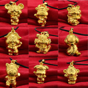 3D Rat Zodiac 14K Gold Plated Chinese  Pendant Necklace Jewelry Birthday Gift
