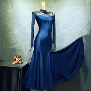 NEW-Latin-Ballroom-Dance-Dress-Modern-Salsa-Waltz-Standard-Long-Dress-G264
