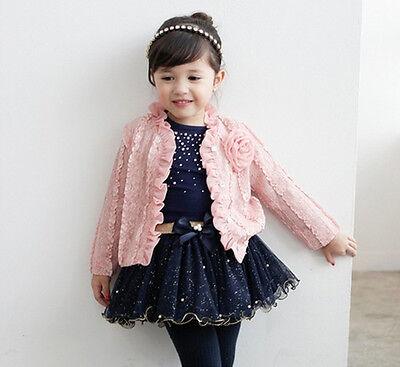 3pcs Kids Girl Baby Toddler Top Coat+T-shirt+Skirt Tutu Set Clothing Outfit