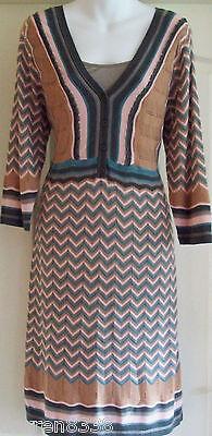 NEW~MONSOON~PENNY JUMPER DRESS & UNDERSLIP KNITTED BROWN PINK ZIG ZAG STRIPE