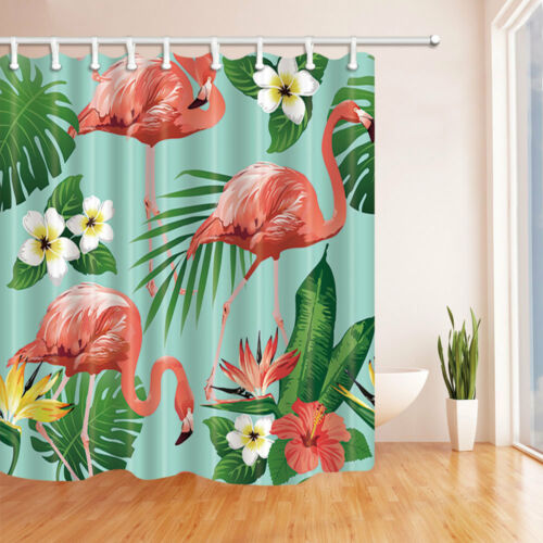 Flamingos And Tropical Flowers Waterproof Fabric Shower Curtain Bathroom 71Inch