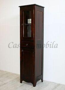 Details zu Massivholz Badhochschrank braun kolonial nussbaum Bad-schrank  Badezimmer vitrine