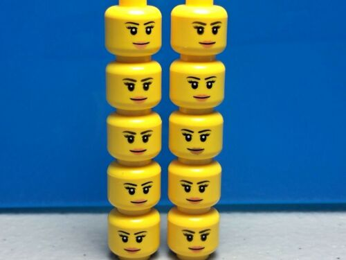 X10 LEGO FEMALE MINIFIGURE HEAD PEACH LIPS SMILE THIN EYEBROWS EYELASHES GIRL