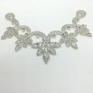 Crystal-Rhinestone-Applique-Trims-Iron-on-Bridal-Dress-Belt-Head-Piece-V