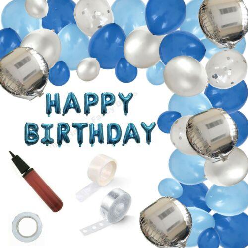 BLUE FOIL CONFETTI HAPPY BIRTHDAY BALLOON GARLAND ARCH KIT DECORATION BOYS DECOR