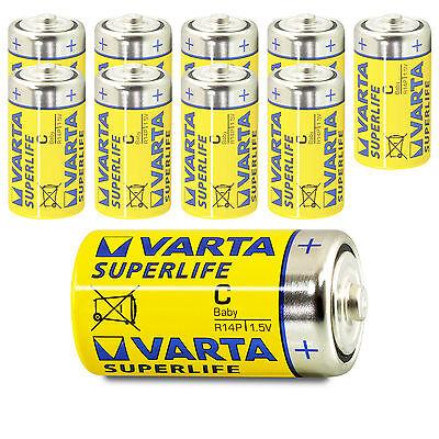 10x Varta Baby C Superlife LR14 UM2 MN1400 Batterie 1,5V Zink-Kohle 10 Stk