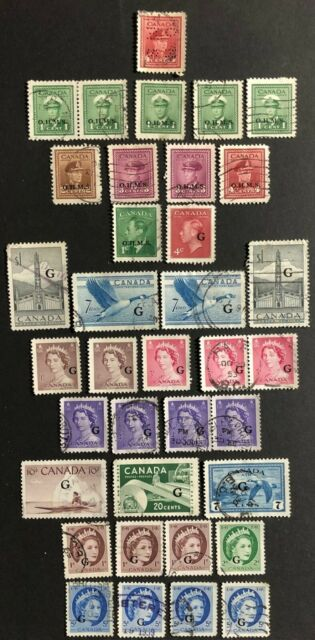 CANADA 1942-56 KING GEORGE VI & QUEEN ELIZABETH - 36 OFFICIAL USED STAMPS