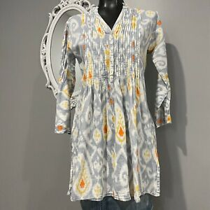 Small Womans SURYA Pleated Art To Wear Lagenlook Tunic Blouse Top
