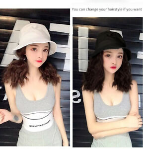 Details About 2019 New Bucket Hat With Hair Women Girls Short Curly Hair Hat Caps Chic Wig Hat