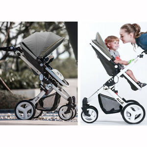 Allis Baby 2 in1 Pram Pushchair Buggy Stroller Carry Cot Travel system Grey