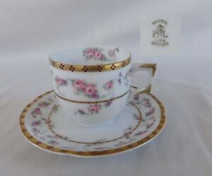 Pfeiffer & Lowenstein Demitasse CUP & SAUCER pink roses, gold trim, red dots