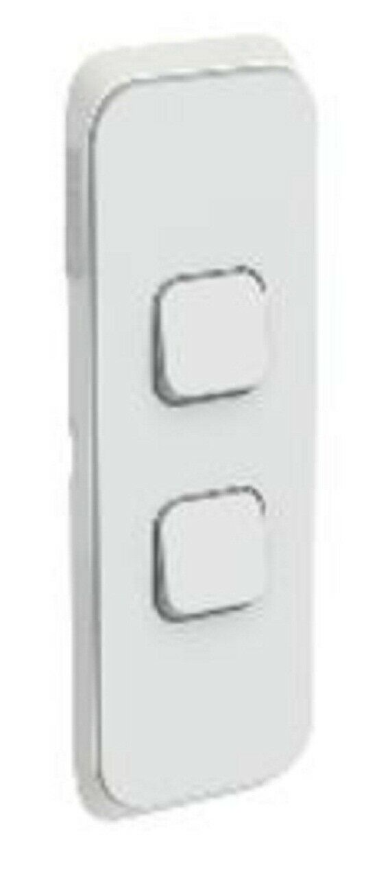 2x Clipsal ICONIC SWITCH COVER PLATES 2-Gang greenical Mount, Clip-On COOL GREY