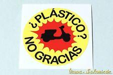 "Dekor Aufkleber ""¿Plástico? ¡No gracias!"" - Vespa Lambretta Scooter V50 Sticker"