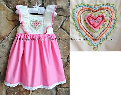 Smocked A Lot Girls Dress Valentine/'s Day Heart Quilt Pink Hearts Flutter Lace