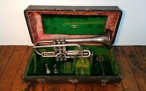 Antique 1916 Frank Holton Révolution Argent L.p. Cornet Trompette Selmer New York-afficher Le Titre D'origine Facile Et Simple à Manipuler