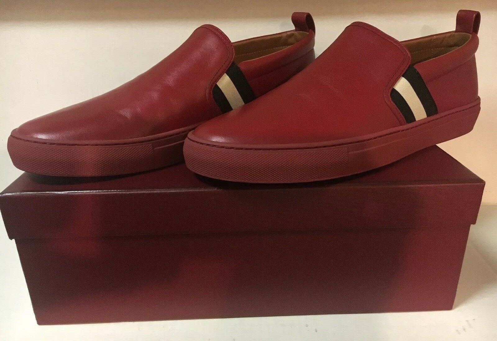 Bally Men's Herald 235 Garnet rosso Nappa Lamb Leather Loafer scarpe  Sz. 11.5 US