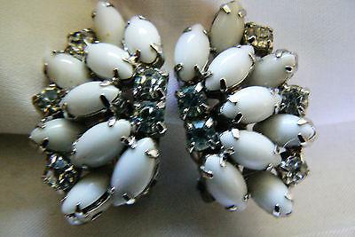 Vintage By Gale Tone Metal Clear Crystal Milk Glass Rhinestone clip on earrings