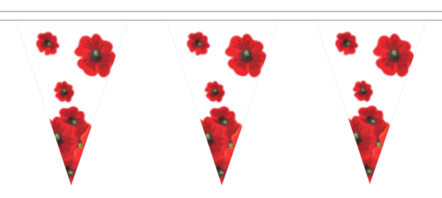 Poppy Flowers Polyester Bunting 10m With 24 Flags For Sale Online