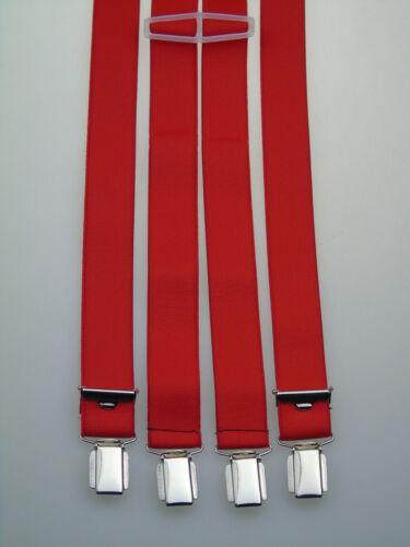 starke Hosenträger 25 mm breit 4 starke Clips Rot NEU !!!