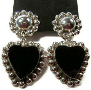 Big-amp-Bold-Taxco-Mexico-Sterling-Silver-Heart-Black-Onyx-Dangle-Clip-Earrings