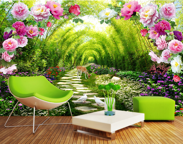 3D Bamboo Grove Peony Arch Paper Wall Print Wall Decal Wall Deco Indoor Murals